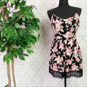 Topshop Black Floral Lace Trim Sleeveless Romper